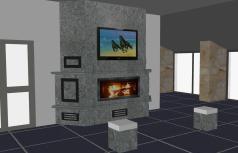 Presentazione grafica caminetto rivestito in pietra Matrix