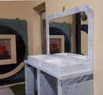 mobile top bagno in marmo Bianco Carrara e marmo Bardiglio con specchiera
